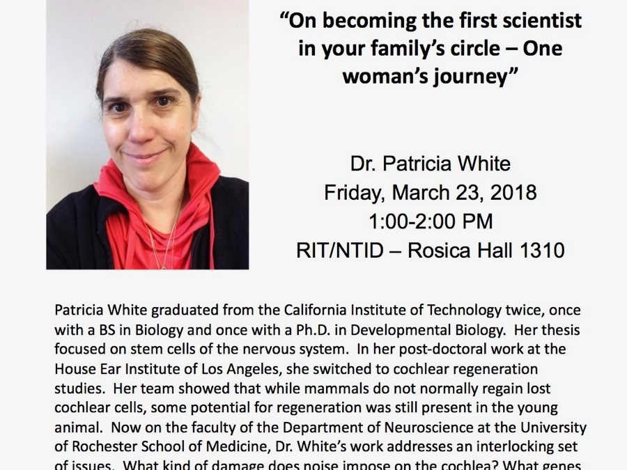 Dr. Patricia White to present WoW Friday, March 23, 2018